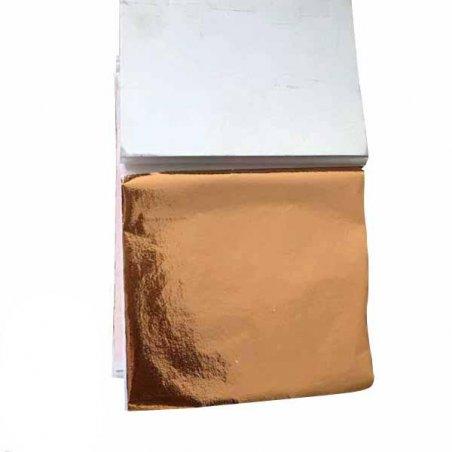 Поталь в листах, цвет - медь, 9х9 см, 25 листов (rose gold 11)