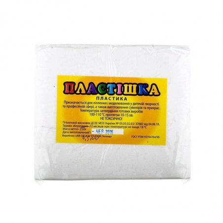 Полімерна глина Пластішка / bebik, №0101 біла, 1 кг