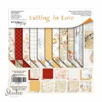 "Набор двусторонней бумаги 30,5х30,5см ""Falling in Love"", 190г/м2, 10шт+1 лист карточек"
