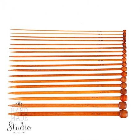 Спицы для вязания бамбуковые с заглушкой 4.5 mm, длина 25 см