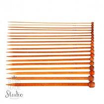 Спицы для вязания бамбуковые с заглушкой 9.0 mm, длина 25 см