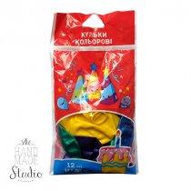 Набор цветных воздушных шариков без рисунка, цвет микс, 12 штук