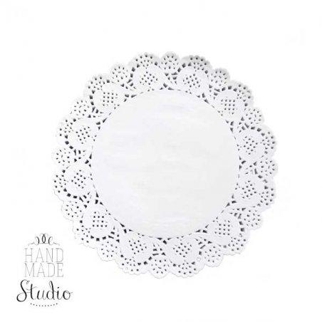 Ажурная салфетка, цвет - белый, 16 см, 2 штуки