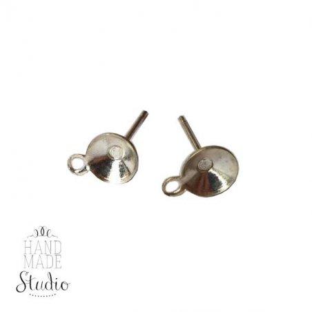 Основа для пуссет с петелькой 1,4х0,6 см, цвет серебро, 2 шт