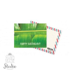 "Мини открытка ""Happy Birthday!"" grean leaf+ крафт конверт 10х7,5 см"