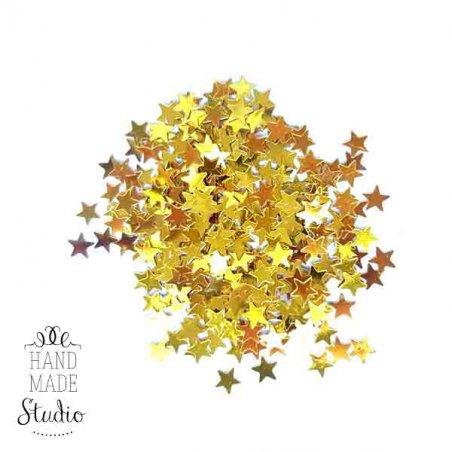 Сухие блестки Звездочки, цвет - золото, 5 г