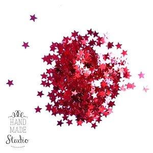 Сухие блестки Звездочки, цвет - красный, 5 г
