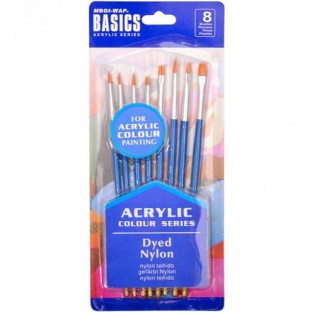 Набор художественных кистей для акриловых красок Basics 0813В-1, 8 штук