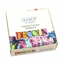 "Набор красок по ткани DECOLA ""Textile"", 5 цветов + 2 контура"