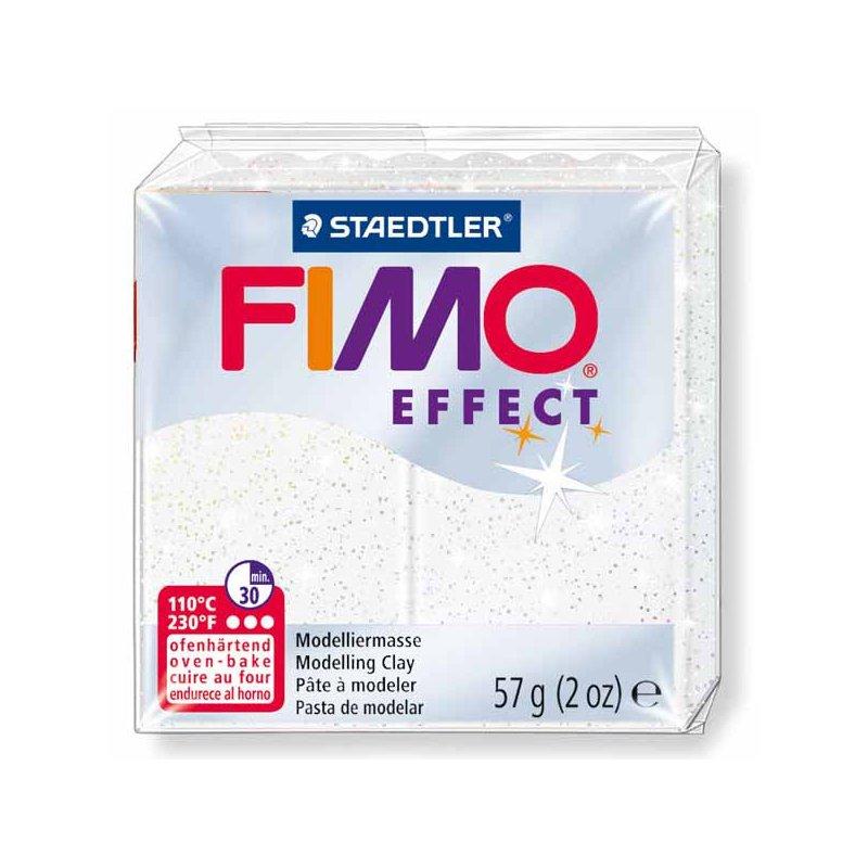 Полімерна глина Fimo Effect, №052, біла з блискітками, 57 г