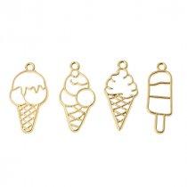 """Набор металлических рамочек (сеттингов) под заливку эпоксидной смолой  """"Мороженое"""" (золото), 4 штуки"""