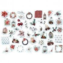 """Новогодние мини-стикеры (наклейки) """"The flowers of Cristmas"""", 45 штук"""