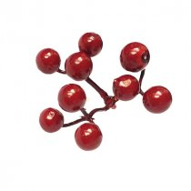 Декоративная веточка с бордовыми ягодами, 6 см