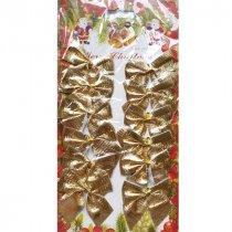 Бантики декоративные на планшетке, цвет золото, 12 штук