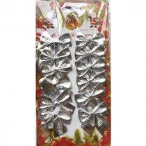 Бантики декоративные на планшетке, цвет серебро, 12 штук