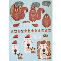 """Лист с высечками для изготовления 3D открытки """"Merry Christmas"""" №7, 21х29,7 см"""
