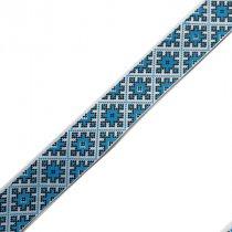 """Репсовая лента с рисунком """"Украинский орнамент"""" №3, 2,5 см, 1м"""