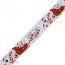 """Лента репсовая новогодняя с рисунком """"Дед Мороз с оленями"""" на белом фоне, 2,5 см, 1м"""