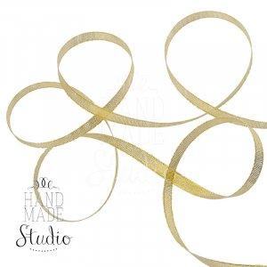 Лента-парча, цвет золото 0,3 см, 1м