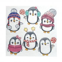 "Фетр мягкий с рисунком 1,2 мм ""Зимние пингвины"" 20х20 см"