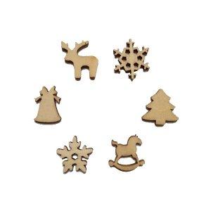 Набор новогодних деревянных мини-фигурок, 6 штук