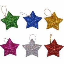 """Новогодний декор игрушка-подвеска """"Звезда"""", 6 штук"""