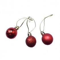 """Новогодняя игрушка """"Мини-шарик"""" в ассортименте 1 шт, цвет красный , d 3см"""