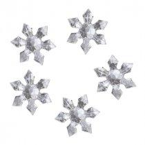 """Пластиковые кристаллы прозрачные """"Снежинки"""", 3 см, 5 штук"""