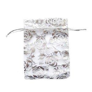 """Подарочный мешочек из органзы """"Розы"""" 16х11 см, цвет- серебристый"""