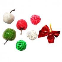 Новогодний микс ( ротанговые шарики, яблоки, бантик )