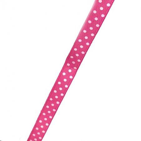 Атласная лента розовая в горошек, ширина 1 см, 1м