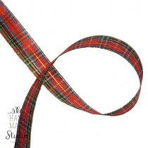 Лента тканевая с люрексом 2,5 см Шотландка №3, 1м