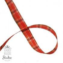 Лента тканевая с люрексом 2,5 см Шотландка №2, 1м