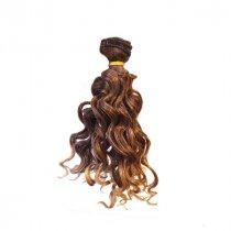 """Искусственные  волосы """"Кудрявые"""" на трессе 15 см, цвет каштановый омбре"""