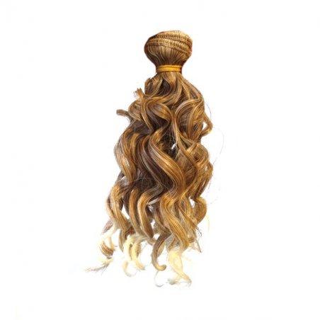 """Искусственные  волосы """"Кудрявые"""" на трессе 15 см, цвет русый омбре"""