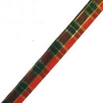 Лента тканевая с люрексом 1,8 см Шотландка №1, 1м