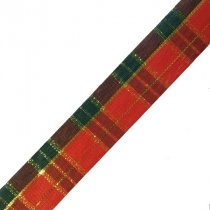 Лента тканевая с люрексом 2,5 см Шотландка №1, 1м
