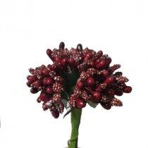 """Тычинки на проволоке сложные с ягодками и листьями """"Незабудки"""", цвет бордовый"""