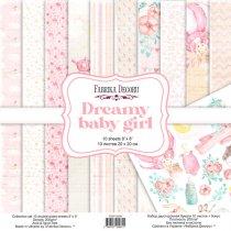 "Набор двусторонней бумаги 20х20 см ""Dreamy baby girl"", 200г/м2, 10шт"