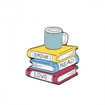 "Металлический значок ""Drink.Read.Love"", 2,8х3 см"