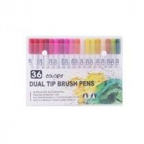 """Набор двухсторонних маркеров-линеров """"DUAL TIP BRUSH PENS"""", 36 цветов"""