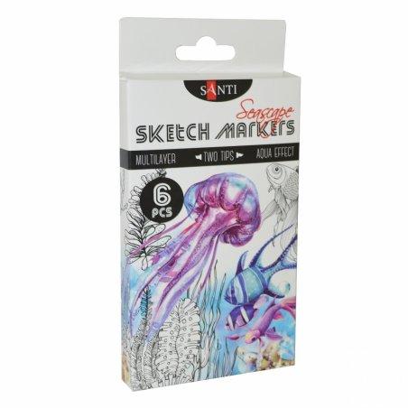 "Набор маркеров SANTI-sketch ""Seascape"" , 6 цветов"