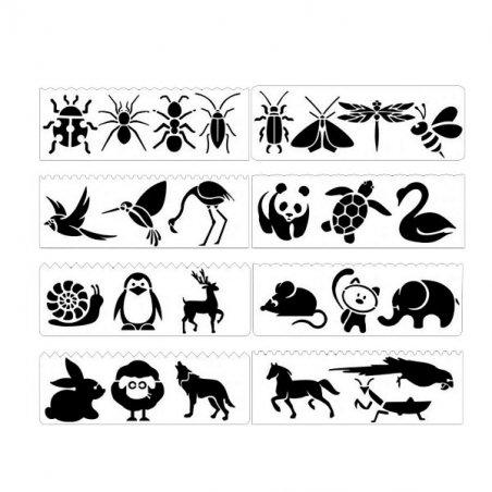 Набор универсальных трафаретов №3 Животные, 6х17 см (8 штук)