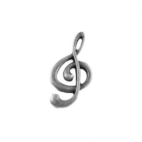 Односторонняя металлическая подвеска Скрипичный ключ, цвет античное серебро, 14*25 мм (2 штуки)