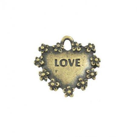 Двухсторонняя металлическая подвеска Сердечко с ободком, цвет античная бронза, 13*15 мм (5 штук)