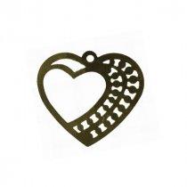 Двухсторонняя плоская металлическая подвеска Сердце в сердце, цвет бронза, 35*32 мм (10 штук)