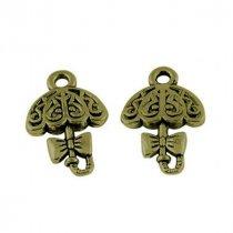 Двухсторонняя металлическая подвеска Зонт, цвет античная бронза, 14*15 мм (2 штуки)