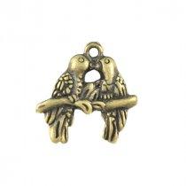 Двухсторонняя металлическая подвеска Влюблённые птички, цвет античная бронза, 18*16 мм (2 штуки)