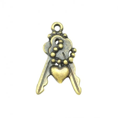 Двухсторонняя металлическая подвеска Ключики с сердечком, цвет античная бронза, 13*17 мм (5 штук)