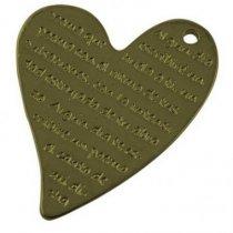 Двухсторонняя металлическая подвеска Сердце выгнутое, цвет античная бронза, 35*45 мм (1 штука)